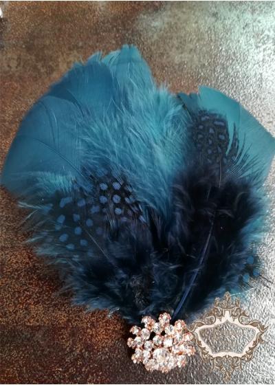 Аксесоар за коса с пера и кристали в тъмно синьо лукс Dark-Blue Bird Lux
