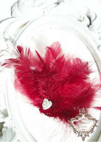 Аксесоар за коса с пера и кристали във вишнево червено Red Bird