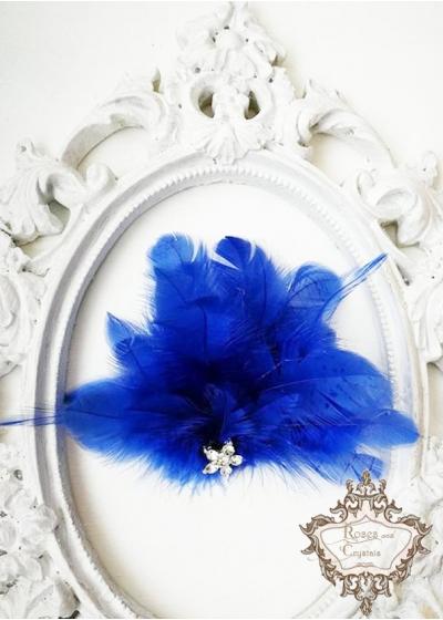 Аксесоар за коса с пера и кристали в кралско синьо Royal Blue