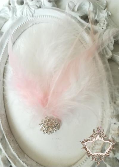 Аксесоар за коса с пера и кристали в нежно розово Pink Bird Lux