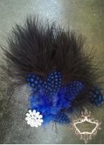 Аксесоар за коса с пера и кристали в кралско синьо и черно Royal Blue Bird