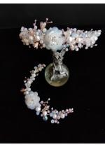 Вносен комплект бижута за булка - диадема за коса и гривна с кристали и перли в слолнова кост - Romantic Bride