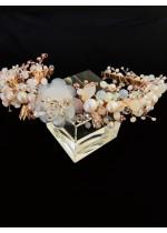 Вносна луксозна булчинска диадема за коса с кристали и перли в слонова кост и розово злато - Romantic Bride