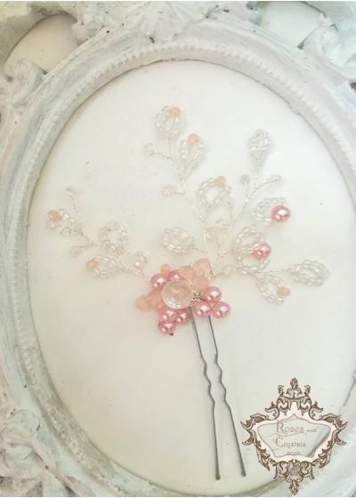 Дизайнерска украса за коса на фуркет Pink Bloom by Rosie