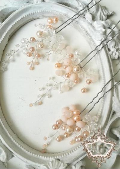 Нежни кристални фуркети за коса за сватба или бал в цвят светла праскова Blush Charms by Rosie