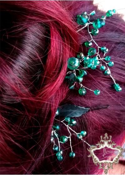 Кристални фуркети- украса за коса в тъмнозелено комплект Evergreen by Rosie