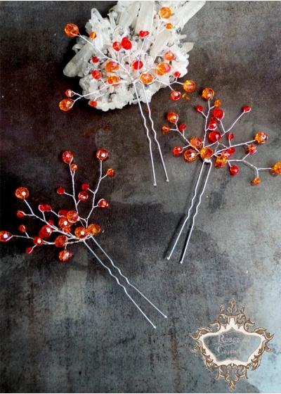 Дизайнерски кристални фуркети- украса за коса в оранжево Orange Flowers