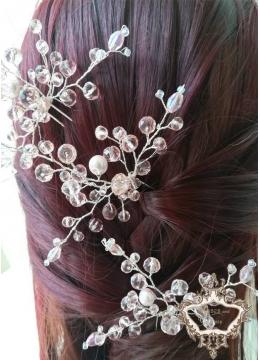 Фуркети- украси за коса с перли и кристали в розово Rose Crystal Garden