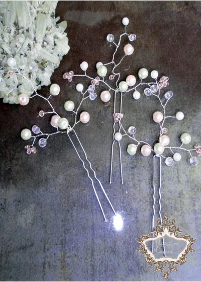 Дизайнерски фуркети за официална прическа с розови кристали Сваровски Rose Dust