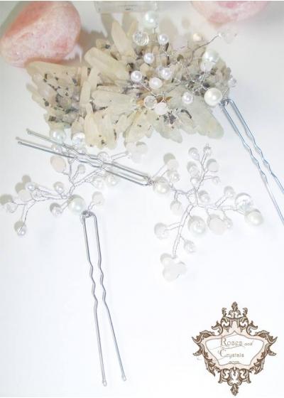 Нежни фуркети- украса за коса с кристали и перли в бяло и розово Tender Rose
