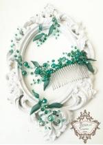 Гребен - украса за коса с тъмно зелени кристали, обици и медальон Green Garden