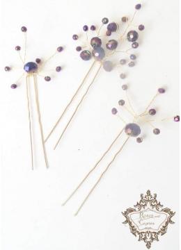 Елегантни дизайнерски фуркети за коса Amethyst Rose