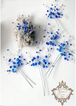 Кристални дизайнерски фуркети за бал и сватба в синьо и бяло Blue Ocean -6 броя