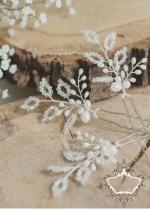 Фуркети- украса за сватбена прическа с мъниста и перли Baby Breath by Rosie
