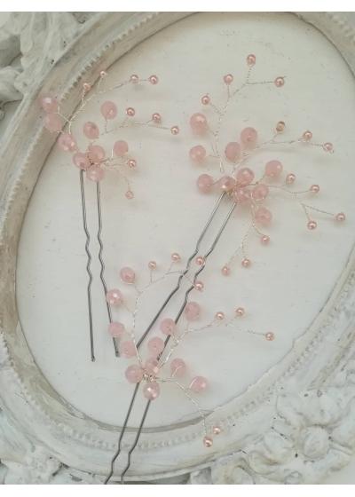 Изящни кристални фуркети от Сваровски кристали Pink Nerine by Rosie