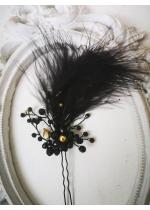Елегантна украса за коса с кристали Сваровски и черни пера за бал и официални поводи Black Crystal Bird by Rosie