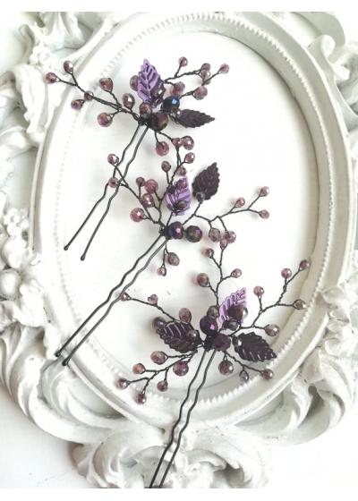 Дизайнерски фуркети украса за коса с кристали Сваровски в лилаво Purple Shine by Rosie