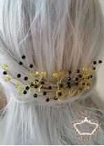 Нежни фуркети за украса с кристали Сваровски в жълто и черно Queen Bee