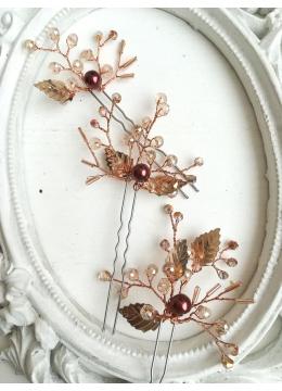 Дизайнерски фуркети за абитуриентка или булка с кристали цвят в розово злато от серията Rose Gold Shine by Rosie