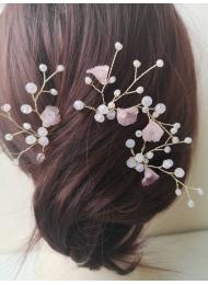 Дизайнерски фуркети с кристали Сваровски в розово за официална прическа модел Soft Pink Flowers by Rosie