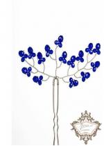 Дизайнерски кристални фуркети за украса на абитуриентска прическа в кралско синьо модел Some Blue by Rosie