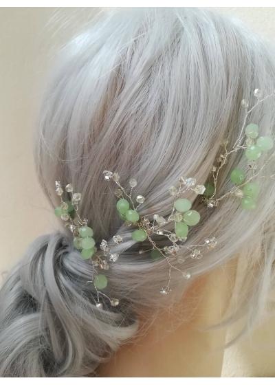 Кристални фуркети украса за коса с кристали Сваровски в цвят Мента Tender Clovers by Rosie