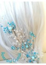 Комплект нежни кристални фуркети за коса в тюркоаз и бяло Turquoise Dreams by Rosie