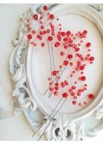 Червени кристални фуркети -украса за коса комплект 3 броя Hot Red