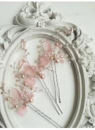 Дизайнерски фуркети украса за коса с кристали Сваровски в розово модел Rose Magic Garden by Rosie