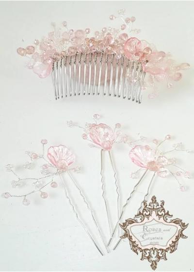 Комплект за дълга официална прическа- дизайнерски гребен и фуркети украса за коса в розово Japanese Garden by Rosie