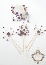Eфектен комплект за официален повод- кристални фуркети и гривна в лилаво и златно Amethyst Rose