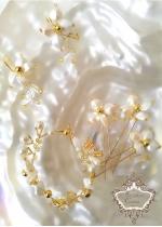 Комплект за булка- фуркети гривна и обици Gardenia Gold by Rosie