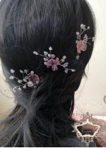 Комплект Дизайнерски кристални фуркети- украса за коса с розови кристали Japanese Garden