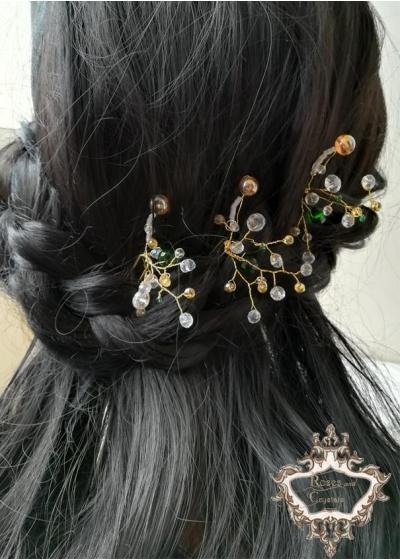 Елегантен дизайнерски комплект фуркети- украса за коса от серия Vintage Memories