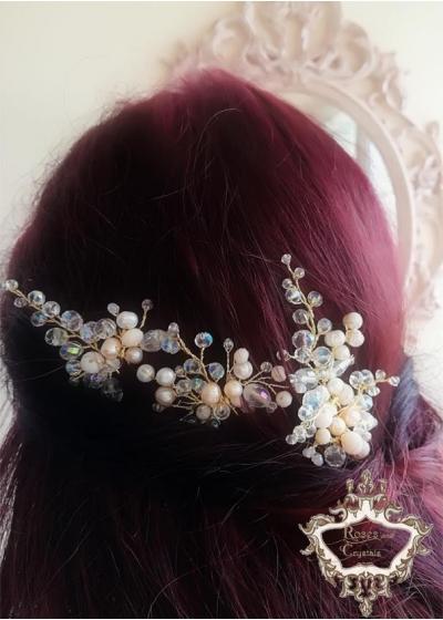 Ръчно изработени кристални фуркети украса за коса Golden Blush