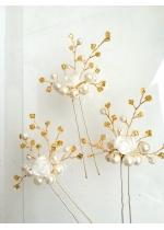 Булчински фуркети с перли и мъниста Прециоза в бяло и златно модел Roses and Gold by Rosie