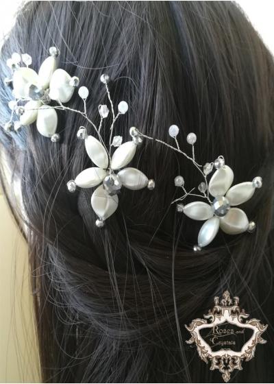 Кристални фуркети за булчинска прическа White Orchid by Rosie