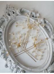 Фуркети с перли и кристали Сваровски в бяло модел Pearls and Gold by Rosie