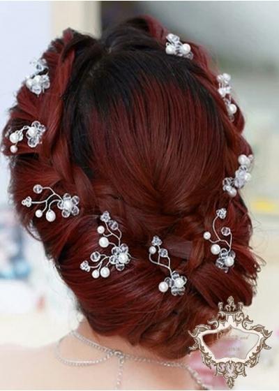 Дизайнерска украса за коса с кристали Сваровски 9 броя фуркети модел White Twirl by Rosie