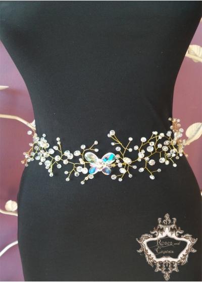 Колан за рокля с кристали - Crystal Butterfly Gold