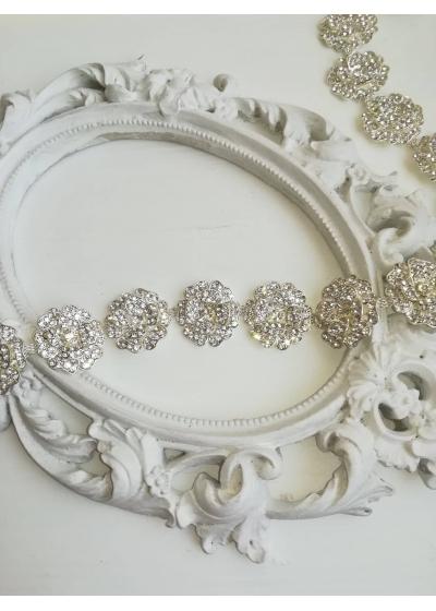 Изящен кристален колан с цветя модел Fleur de la lune by Atelier Roses and Crystals