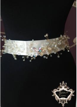 Kолан Сваровски кристали за булчинска рокля със сатен - Crystal Butterfly Gold