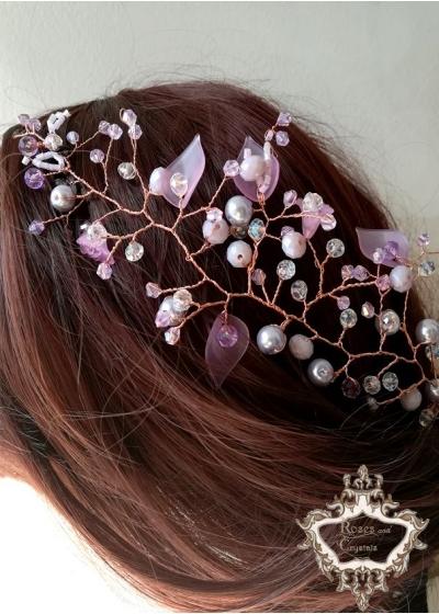 Дизайнерска украса за коса в светло лилаво- Lilac by Rosie