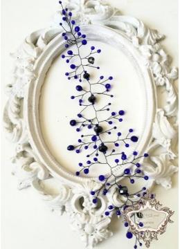 Кристална дизайнерска украса за коса в Кралско синьо и черно Midnight Magic by Rosie