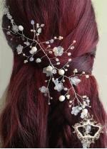 Булчински аксесоар за коса с кристали в цвят светла праскова Peach Blossom by Rosie