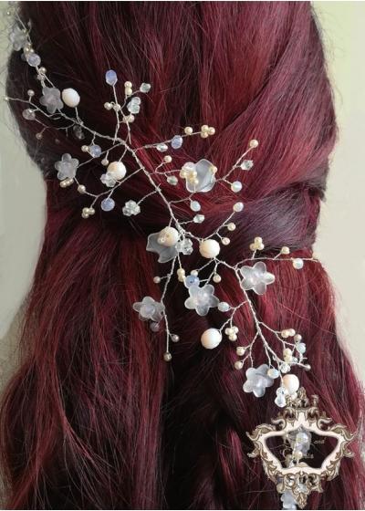 Дизайнерска украса за коса с кристали в цвят светла праскова Peach Blossom by Rosie