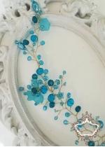 Дизайнерска кристална украса за коса с кристали тюркоаз Turquoise Magic by Rosie