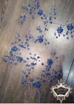 Украса за коса тип Hair Vine от сини кристали Blue Flowers