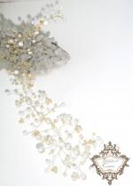 Украса с перли и кристали  за официална прическа в бяло и златно Gold Touch
