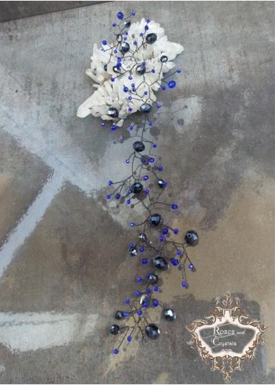 Кристална украса за официална прическа в черно и синьо Midnight Dream
